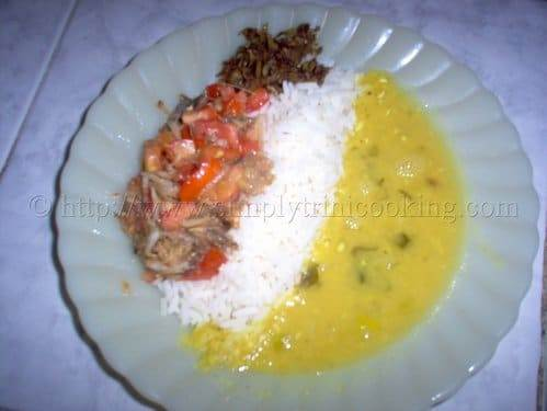 Rice and Dhal and Smoked Herring | Simply Trini Cooking