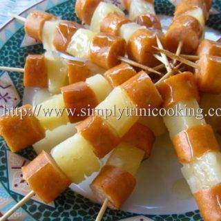Party Happy Pineapple and Sausage Skewers