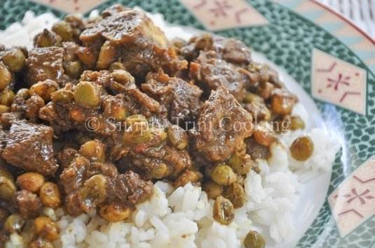 Curried goat and pigeon peas